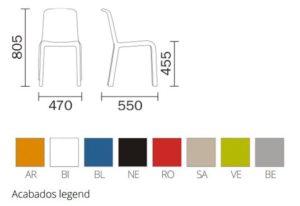 pedrali-snow-300-medidas-y-colores